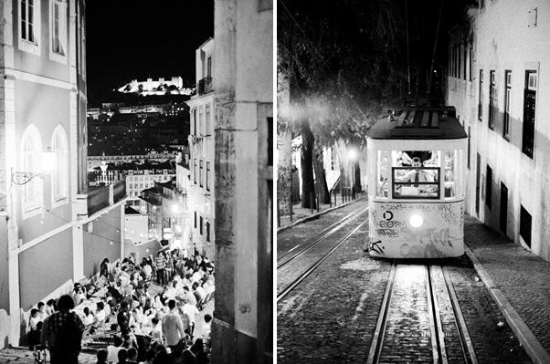 dzielnica Bairo Alto nocą lizbona