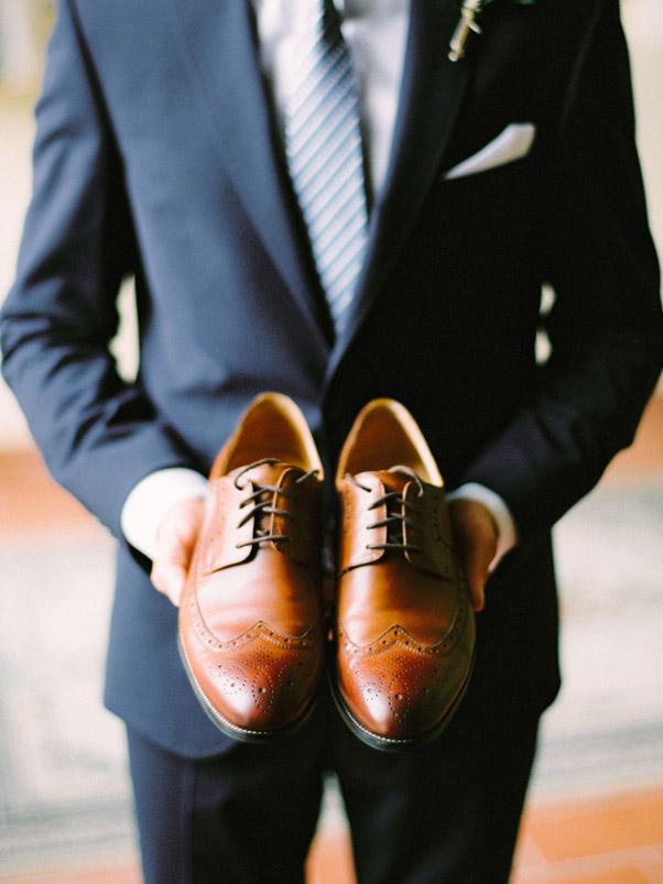 Brązowe Buty Ślub Pan Młody