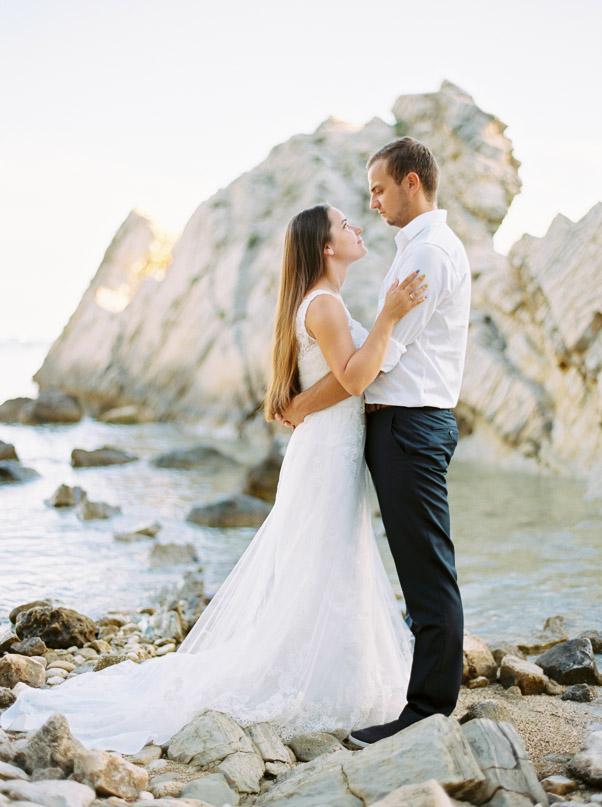zdjęcia sesja ślubna plaża Chorwacja Zachód Słońca Kodak Portra 400 Contax 645